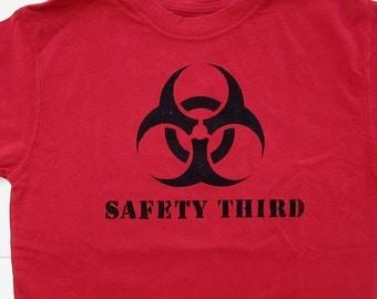 Kids tshirt SAFETY THIRD biohazard T Shirt for dangerous boys tshirt - xs to xl size 4/5 to 16/18 red black children  kids clothing
