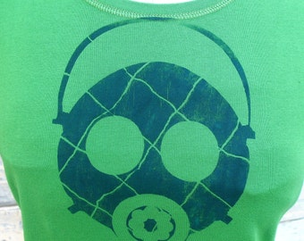 Plaid Gas Mask tshirt - S M L XL 2XL womens green tshirt handmade screenprint hazpunk  Kelly Green and Navy Blue