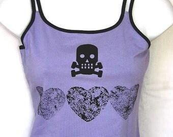 SKULLY BLACK HEARTS Tank Top Tshirt - Lavender and black - Girls 14 16 purple black top skull punk