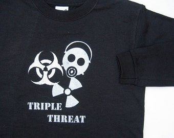 Triple Threat SAFETY THIRD Boys Tshirt - Apocalypse preparation Kids long sleeve shirt Gas Mask Biohazard Radioactive Kids clothing