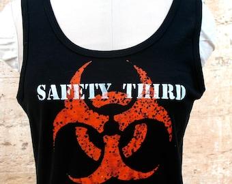 Infected Biohazard SAFETY THIRD tshirt  womens black Tank beater tee s m l xl  anarcho hazpunk punk Safety3rd womens tank top