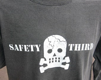 LS Skully SAFETY THIRD shirt Mens Long sleeve tshirt sk8  s - xxl Gray cracked skull safety 3rd t-shirt concussion shirt