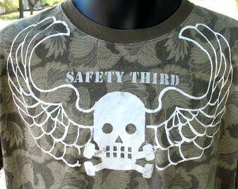 SAFETY THIRD tshirt Skull with Wings Mens Tshirt Distressed screenprint angels Safety 3rd Olive brown
