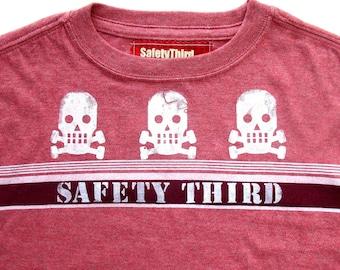 SAFETY THIRD Boys Tshirt - Three Little Skulls skull and crossbones striped tshirt - rust shirt M 8  10 12 t-shirt children clothing kids
