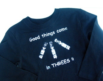 "Down Syndrome Awareness TShirt ""Good things come in Threes"" - Unisex Boys Girls Youth short sleeve tshirt Black navy blue kids clothing"