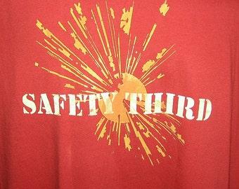 Explosion SAFETY THIRD Tshirt -- safety 3rd Mens tshirt Red & Orange or Brown and Orange masculine under25 etsybrc