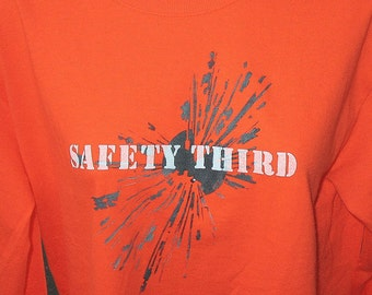 Long Sleeve Mens Safety Third tshirt - Explosion -  Safety Orange Safety 3rd Shirt S M L XL White and gray bomb