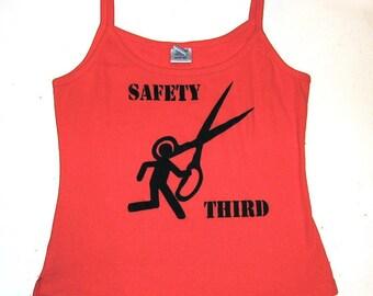 Juniors Running With Scissors Tank Top - SAFETY THIRD - Orange M or XL- EtsyBRC Burning Man Girls Safety 3rd tshirt womens orange tank top