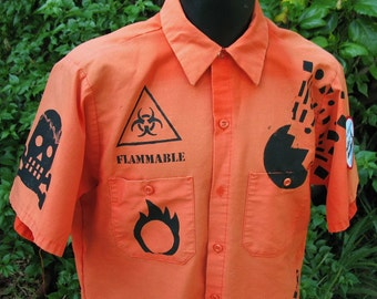 Custom SAFETY Work Shirt with symbols Mens M L XL Orange Safety Shirt OOAK screenprint Danger Radioactive skully  Gas Mask Fire Festival