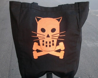 Black canvas Tote with Orange Halloween Kitty tote -  Kitty Crossbones Skull tote bag