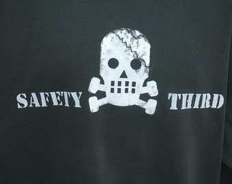 3XL Skully SAFETY THIRD Hoodie - Mens pouch hoodie Dark Gray Asphalt or Heather sweatshirt  Cracked skull Big Man Safety 3rd pullover hoodie