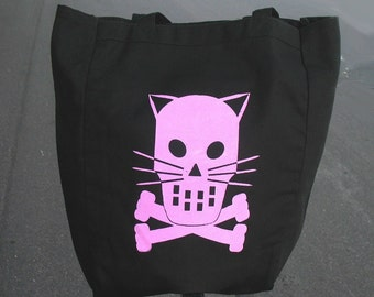 Tote - Black canvas tote  with Kitty Crossbones - Pink Green Orange T.N.R. FERAL Black tote bag for cat lovers