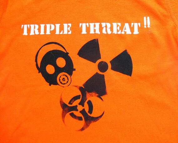 Triple Threat  tshirt -  radioactive gas mask biohazard boys tshirt - 3T - Orange Safety Third kids shirt