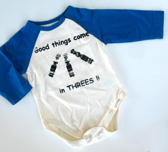 Baseball Onesie for Down Syndrome  - Good Things Come in Threes - newborn baby clothing long sleeve creeper 3 - 6 months