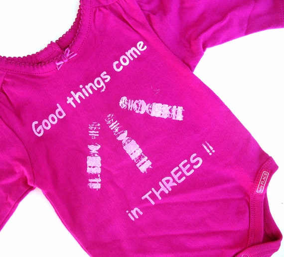 Girls Onesie Good Things Come in Threes - Magenta Long Sleeve newborn girl Down Syndrome Awareness childrens kids clothing creeper 0 - 3 mos