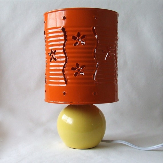 Flower Stripe Lamp Orange and Yellow - Convertible