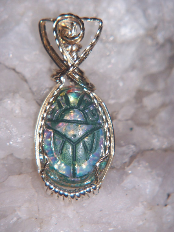 Khd Vintage Egyptian fire opal wire wrapped pendant