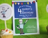 Robot Birthday Party Invitation No.1