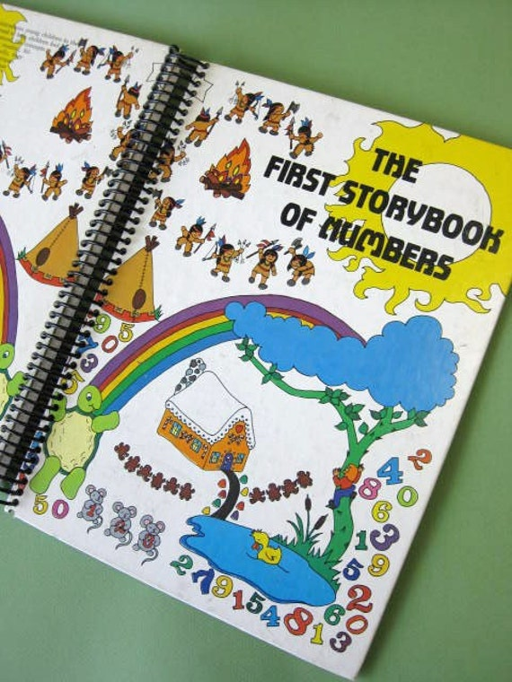 The First Storybook of Numbers recycled book journal, hardcover