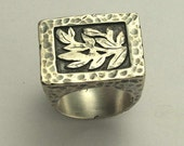 Sterling silver with silver leaves rectangular statement, cocktail, woodland ring - Love is everything