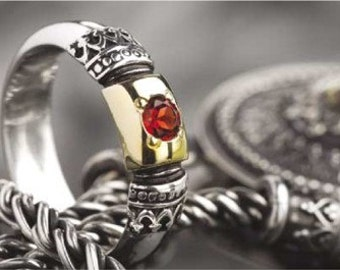 Garnet ring, silver gold ring, filigree Ring, Sterling silver ring, Birthstone ring, engagement ring, wedding band, boho - Forever R0115X