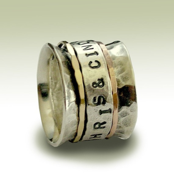 wedding band from sterling silver with personalized stamped spinner