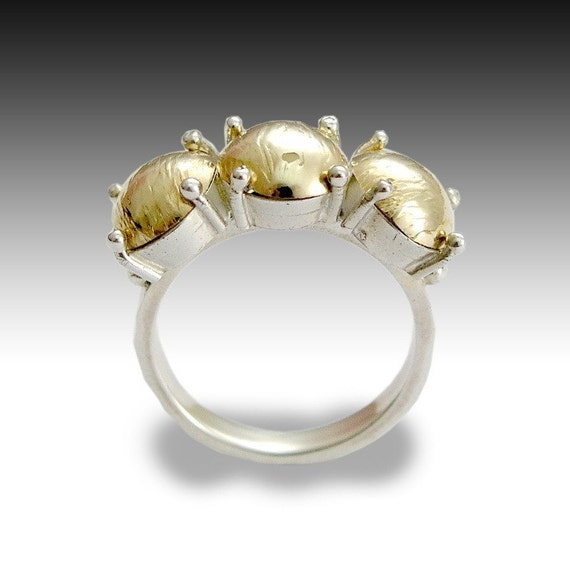 Silver gold ring, statement ring, elegant ring, Victorian ring, prongs ring, yellow gold ring, gold balls ring, twotone - Best in show R1538
