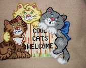 547 Cool cats welcome wall hanger