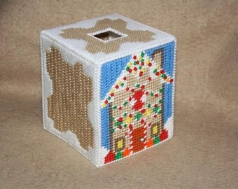 316 Gingerbread house tissue box cover