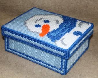 389 Winter Snowman large trinket box