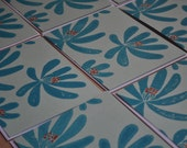 Hand Printed Turquoise Magnolia Note Card Linocut set of 5 flat cards