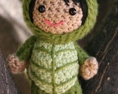 Crochet Pattern- Lucy in a turtle costume amigurumi doll
