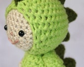 Crochet Pattern- Luke in the dinosaur suit amigurumi