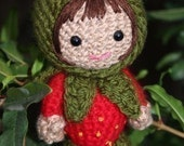 Crochet Pattern- Ruby in a strawberry costume amigurumi doll