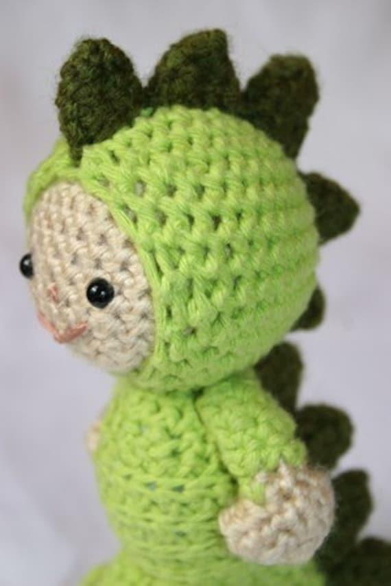 Crochet Pattern- Luke in the dinosaur suit amigurumi