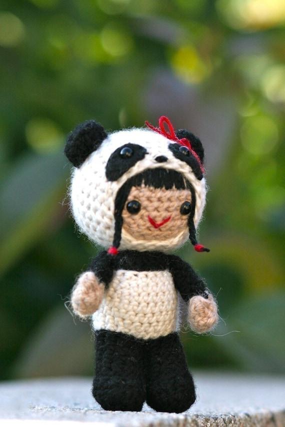 Crochet Pattern- Pearl in the panda costume amigurumi doll