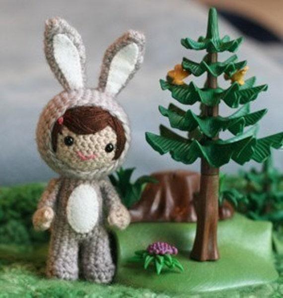 Crochet Pattern- Elizabeth the rabbit girl amigurumi doll