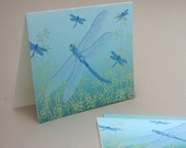 Dragonfly Notecards, Set of 8 Bug Insect Spring Blue Aqua Teal Nature