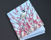 Chickadee, 4 x 5 Pocket Notebook Bird Winter Ilex Winterberry Woodland Art Illustration