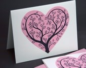 Valentine Botanic Notecards, Blank Card Tree Heart Gothic Woodland Folk Art Pen and Ink Pink