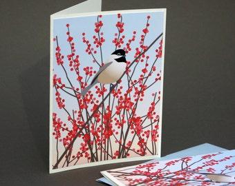 Chickadee Notecards, Black Capped Bird Natural History Red Winterberry Ilex Winter Stationery Mid Century Inspired