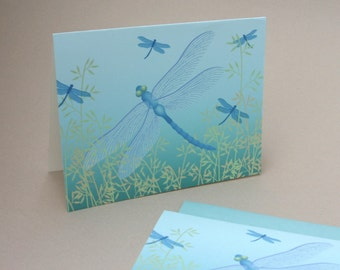 Dragonfly Notecards, Spring Bug Insect Damselfly Blue Turquoise Teal