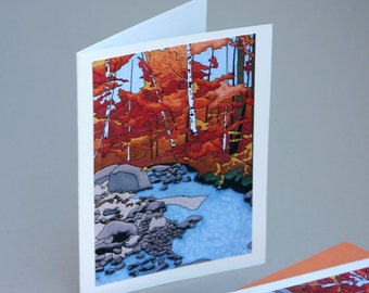 Autumn Notecards, Foliage Fall Orange Red Stream River Leaves Forest Cards Art Colorful