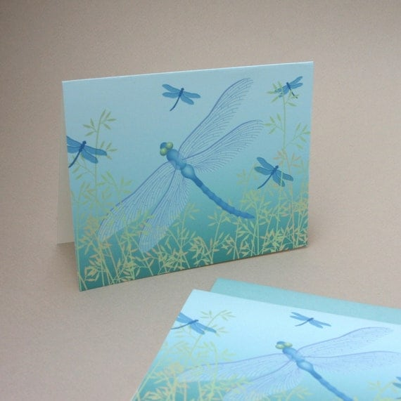 Dragonfly Notecards, Set of 4 Spring Bug Insect Damselfly Blue Turquoise Teal