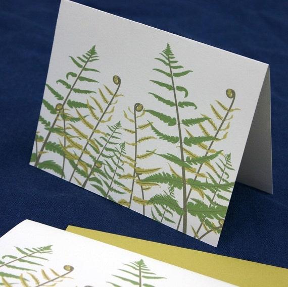 Fern Notecards, Fiddlehead Green Chartreuse Leaves Leaf Botanic Natural History Spring Summer