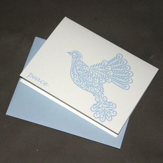 Peace, Blue Dove Notecards,  Folk Art Inspired Bird Blank Cards Christmas Holiday Winter