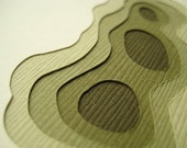 Topography in Olive - Set of 4 handcut cards