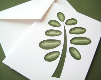 Retro Fern - one hand cut art card