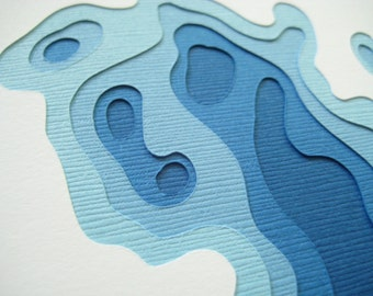 Topography in Royal - Set of 4 handcut cards