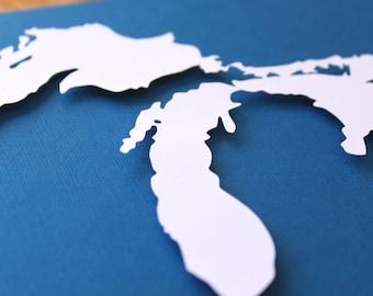 Great Lakes Silhouette - 8 x 10 original papercut